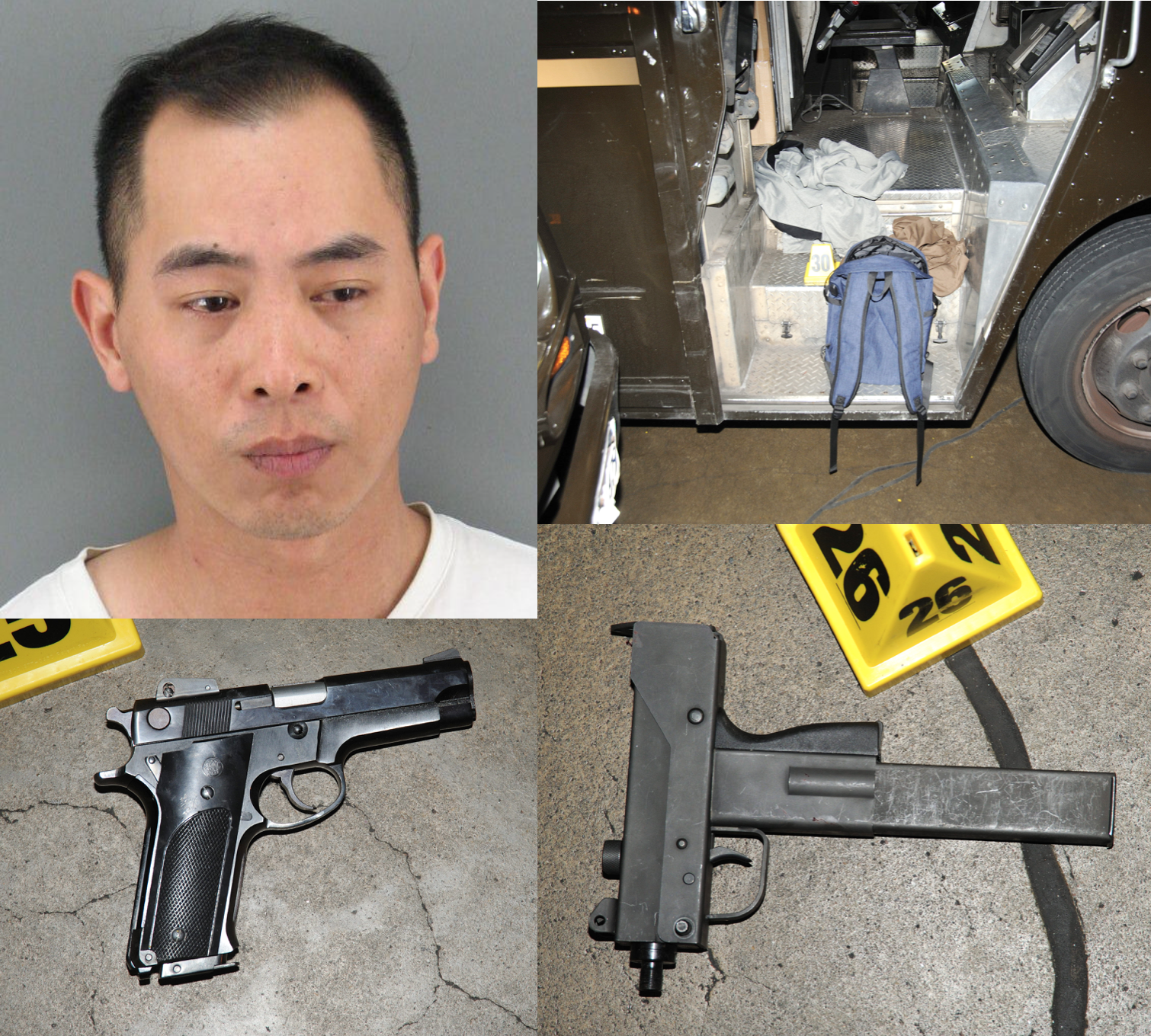 Top Left: Booking photo, Top right: backpack evidence in UPS truck, Bottom Left: gun, Bottom right: gun with extended magazine
