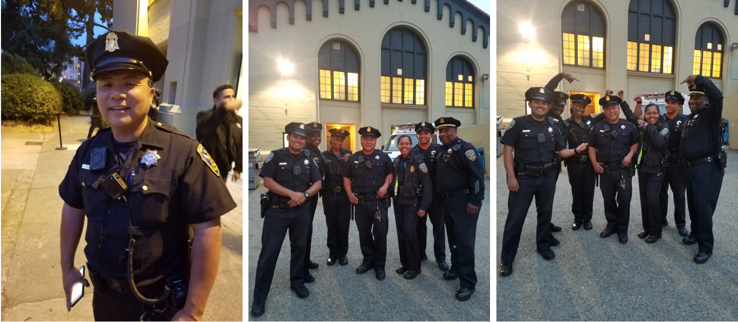 3 photos. 1. Officer Fung, 2 & 3. Group of officers around Officer Fung