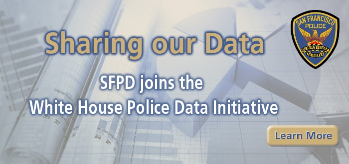 Sharing our Data Slide with charts in the background and SFPD Patch Logo