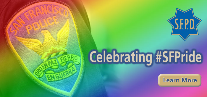 Slide SFPD Celebrating #SFPride with SFPD officer patch with rainbow gradient