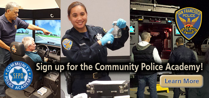 Slide Sign up for the Community Police Academy! with image of driving simulator, officer teaching and students with officer