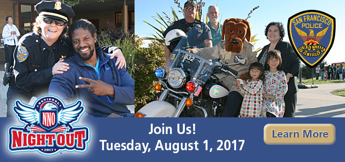 Slide SFPD National NIght Out Tuesday, August 1, 2017 with Officers and Community