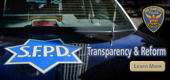 "Slide ""SFPD Transparency and Reform"" with SFPD on police car hood"
