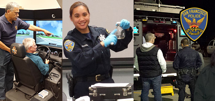 SFPD Community Police Academy header with image of driving simulator, officer teaching and students with officer