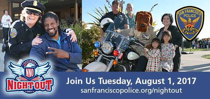 SFPD National Night Out August 1, 2017 image with officers and the public