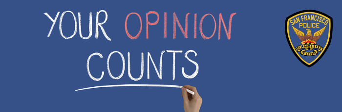 SFPD your opinion counts website survey header