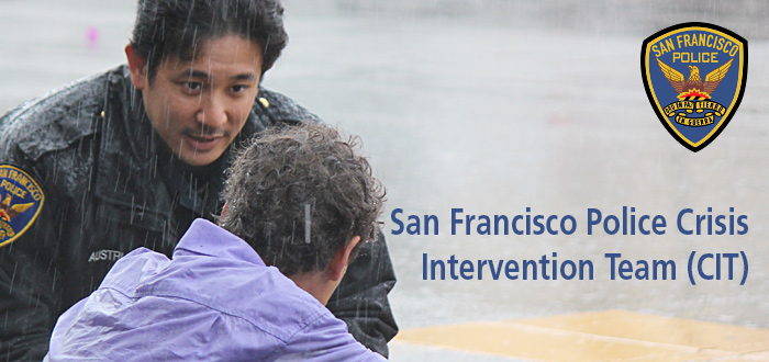 SFPD Crisis Intervention Team image with SFPD officer talking to person on the street