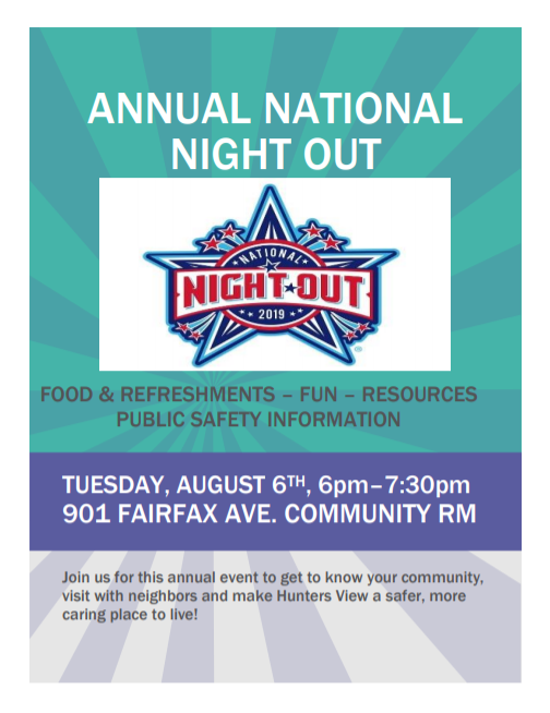 Bayview National Night Out flyer for Fairfax Avenue event