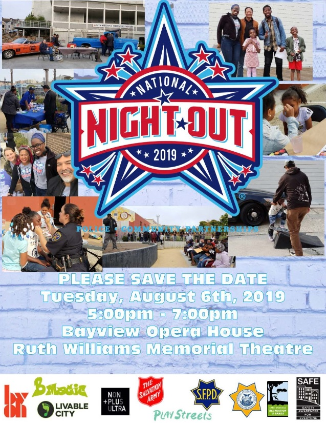 National Night Out 2019 flyer listing events offered by SFPD Bayview Station