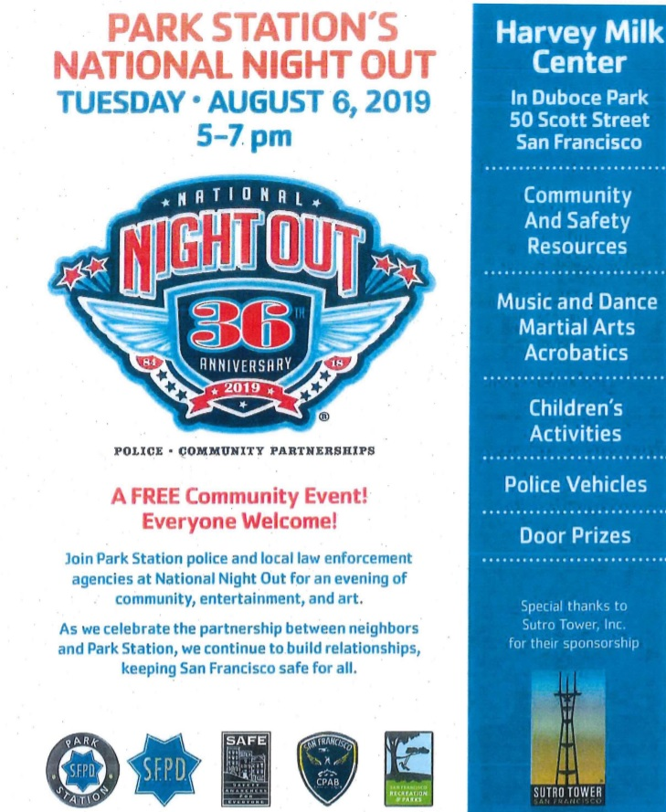 National Night Out 2019 flyer listing events offered by SFPD Park Station
