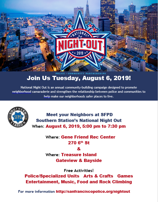 National Night Out 2019 flyer listing events offered by SFPD Southern Station
