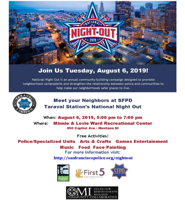 Taraval Station National Night Out 2019 flyer