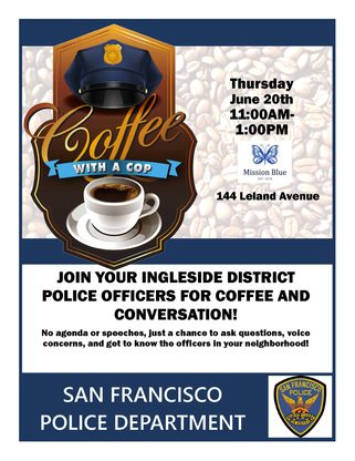Coffee with a Cop flyer for Ingleside Station with a picture of a coffee cup