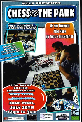 Colorful flier of people playing chess outdoors